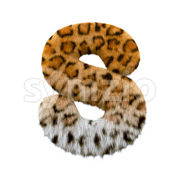 3d Uppercase font S covered in jaguar texture Stock Photo