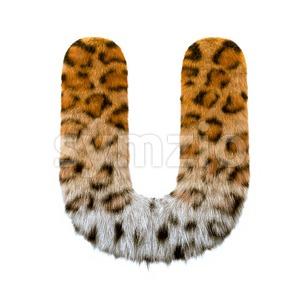 jaguar 3d letter U - Capital 3d font Stock Photo