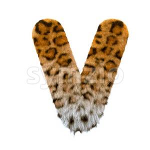 Capital jaguar letter V - Upper-case 3d character Stock Photo