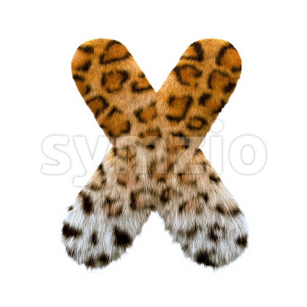 3d Upper-case character X covered in leopard texture Stock Photo