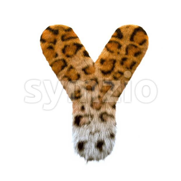 Upper-case jaguar font Y - Capital 3d character Stock Photo