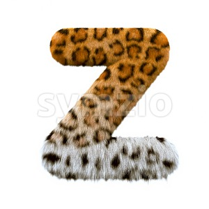leopard letter Z - Upper-case 3d font Stock Photo