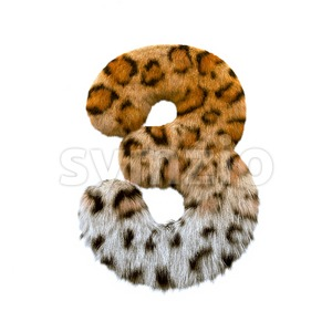 jaguar number 3 - 3d digit Stock Photo