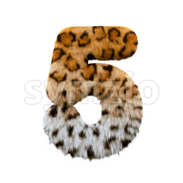 jaguar number 5 - 3d digit Stock Photo