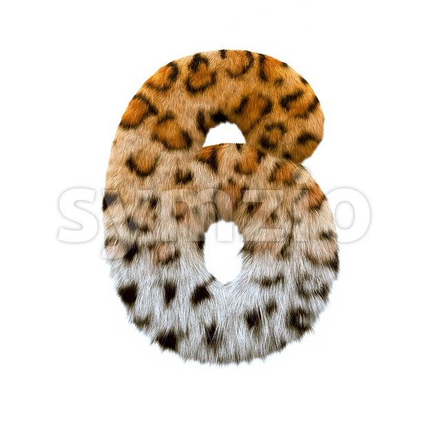 jaguar digit 6 - 3d number Stock Photo