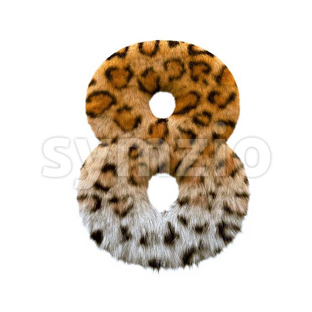 jaguar digit 8 - 3d number Stock Photo