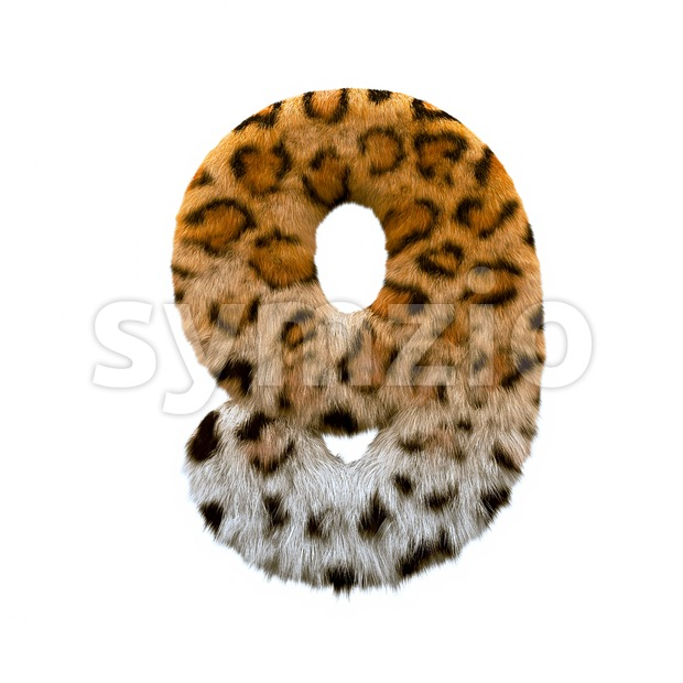jaguar number 9 - 3d digit Stock Photo