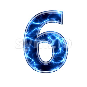 lightning digit 6 -  3d number Stock Photo