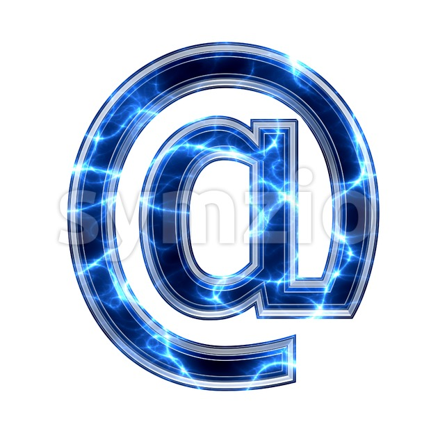 lightning at-sign - 3d arobase symbol Stock Photo