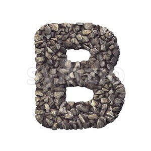 Capital rock letter B - Upper-case 3d font Stock Photo