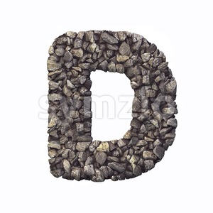 crushed rock font D - Capital 3d character Stock Photo