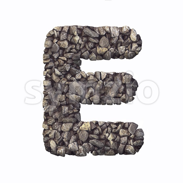 3d Capital character E covered in crushed rock texture Stock Photo
