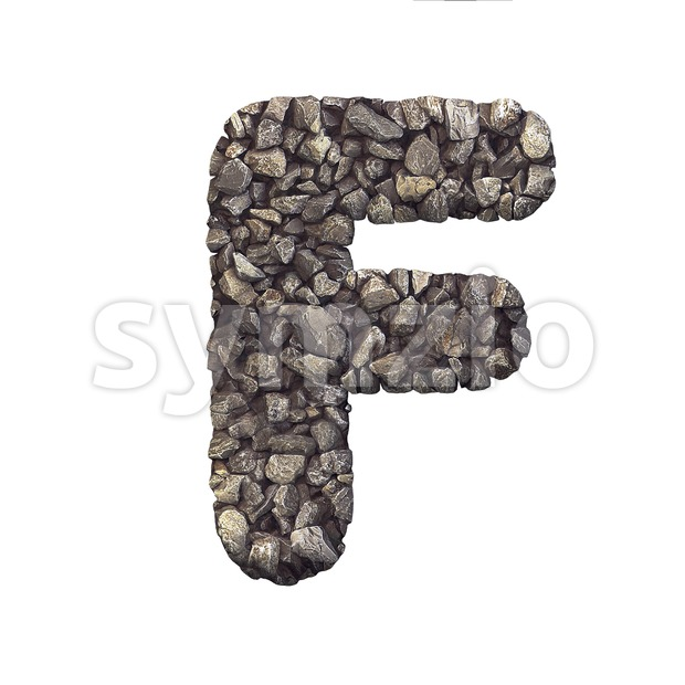 stone letter F - Upper-case 3d font Stock Photo