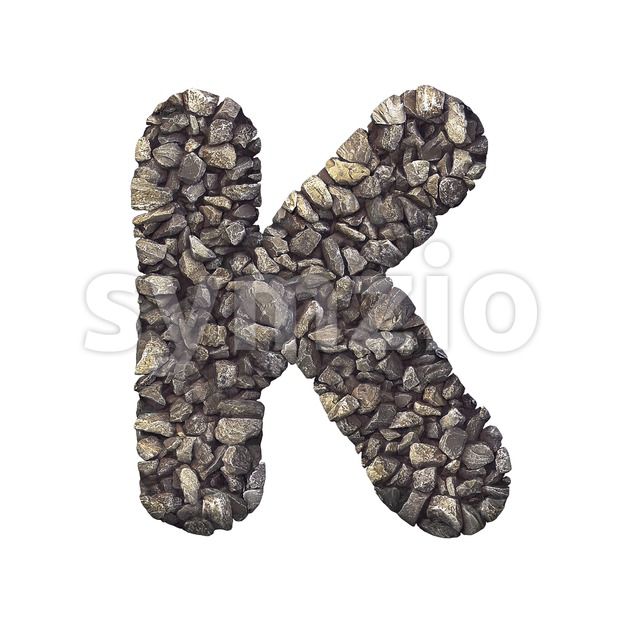 Uppercase stone letter K - Capital 3d font Stock Photo