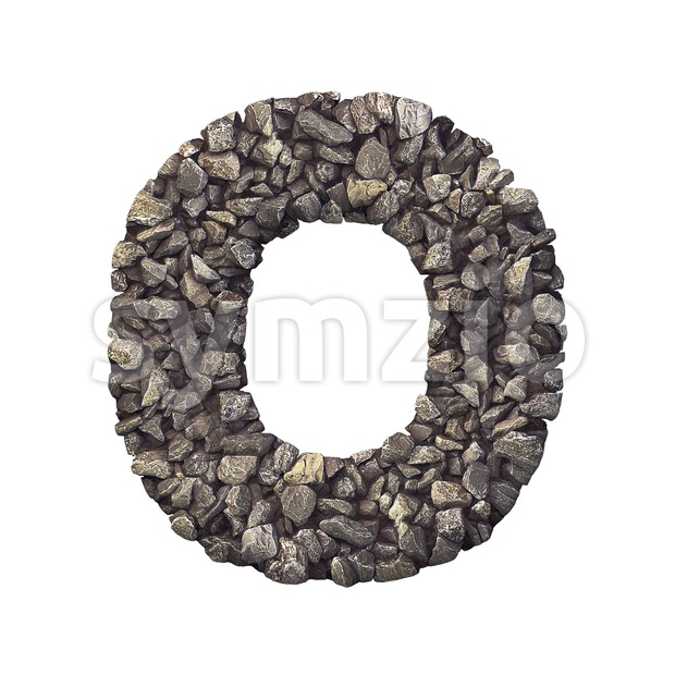 3d Upper-case letter O covered in stone texture Stock Photo