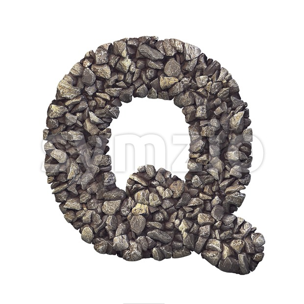 3d Upper-case font Q covered in crushed rock texture Stock Photo