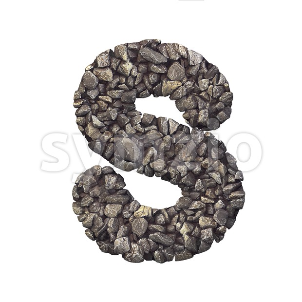 3d Uppercase font S covered in stone texture - Capital 3d letter Stock Photo