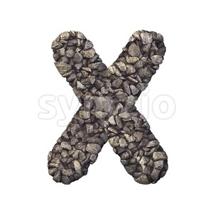3d Upper-case character X covered in crushed rock texture Stock Photo