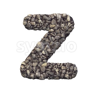 crushed rock letter Z - Upper-case 3d font Stock Photo