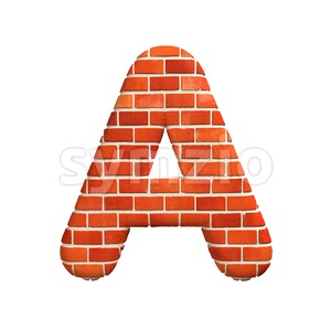 Brick wall letter A - Capital 3d character Stock Photo