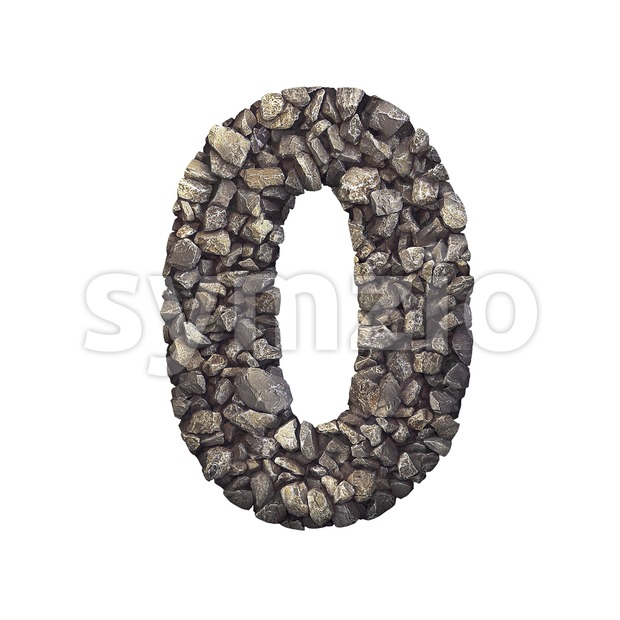 Gravel number 0 - 3d digit Stock Photo