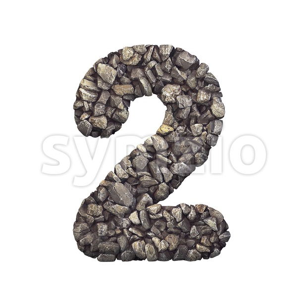 Gravel digit 2 - 3d number Stock Photo