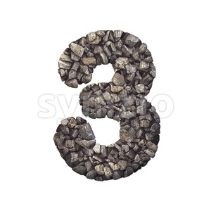 Gravel number 3 - 3d digit Stock Photo