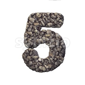Gravel number 5 - 3d digit Stock Photo