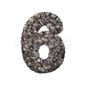 Gravel digit 6 - 3d number Stock Photo