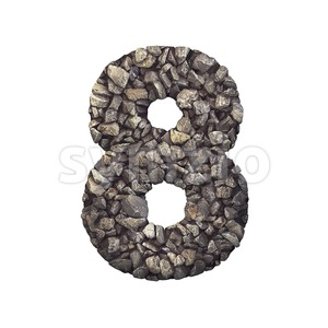 Gravel digit 8 - 3d number Stock Photo