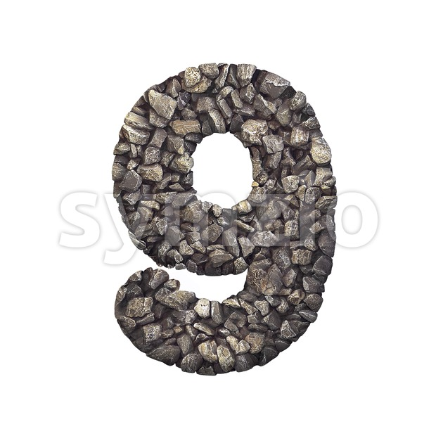 Gravel number 9 - 3d digit Stock Photo