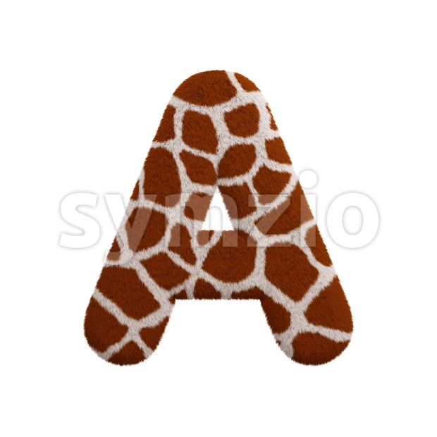 giraffe fur letter A - Capital 3d character Stock Photo