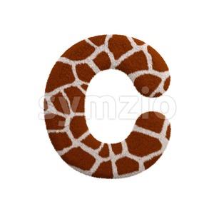 3d giraffe font C - Capital 3d letter Stock Photo