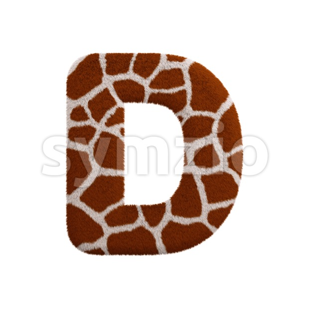 giraffe fur font D - Capital 3d character Stock Photo