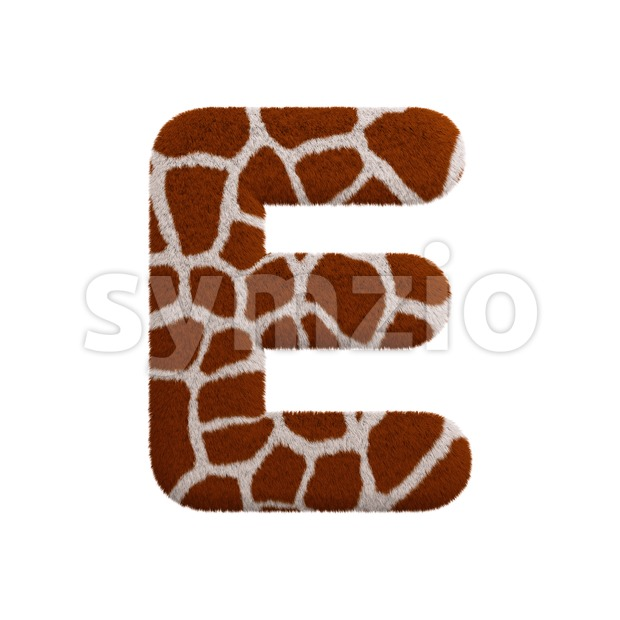 3d Capital character E covered in giraffe texture Stock Photo
