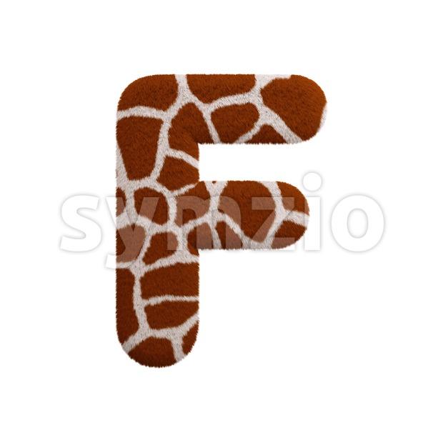 giraffe coat letter F - Upper-case 3d font Stock Photo