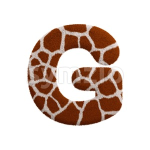 Upper-case giraffe character G - Capital 3d font Stock Photo