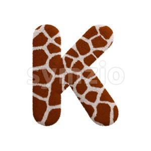 Uppercase giraffe letter K - Capital 3d font Stock Photo