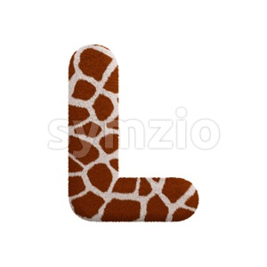 giraffe 3d font L - Capital 3d character Stock Photo