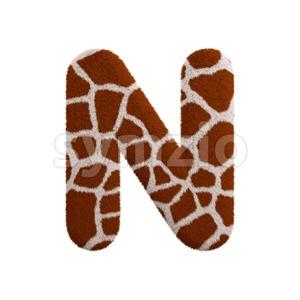 giraffe font N - Capital 3d letter Stock Photo