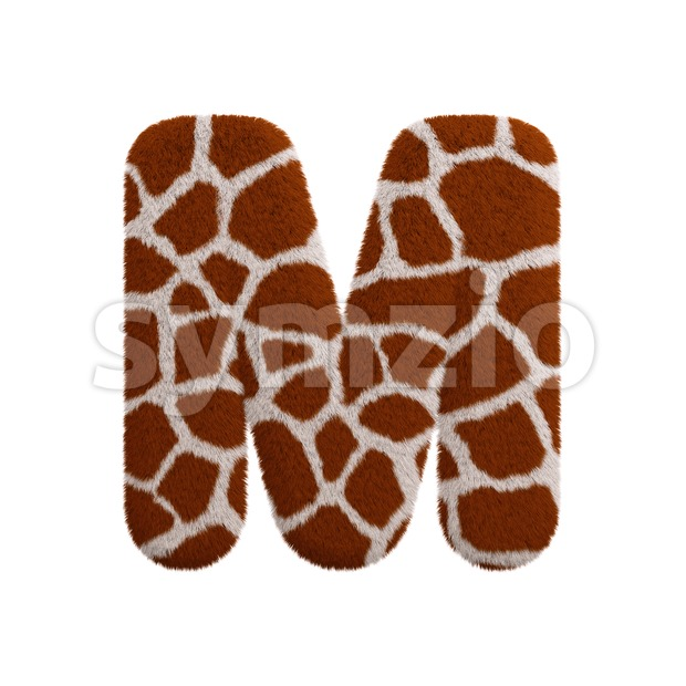 3d Capital character M covered in giraffe texture Stock Photo