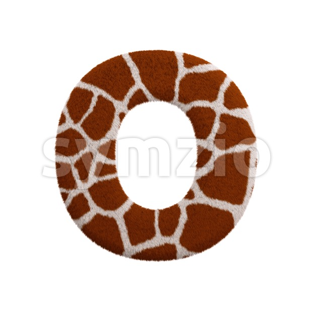 3d Upper-case letter O covered in giraffe fur Stock Photo