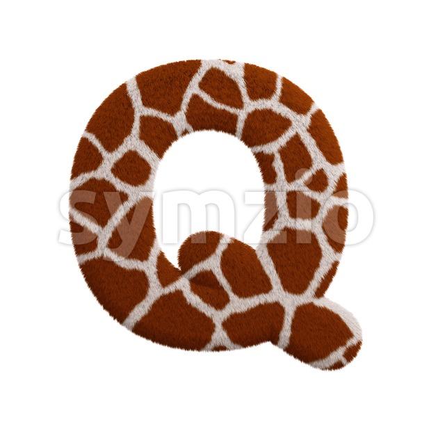 3d Upper-case font Q covered in giraffe texture Stock Photo