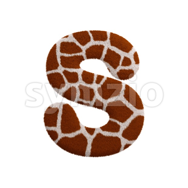3d Uppercase font S covered in giraffe texture Stock Photo
