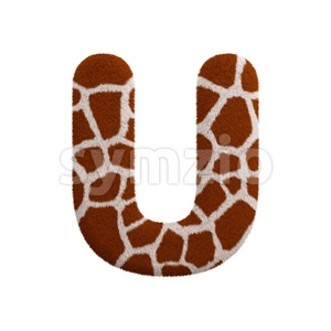 giraffe 3d letter U - Capital 3d font Stock Photo
