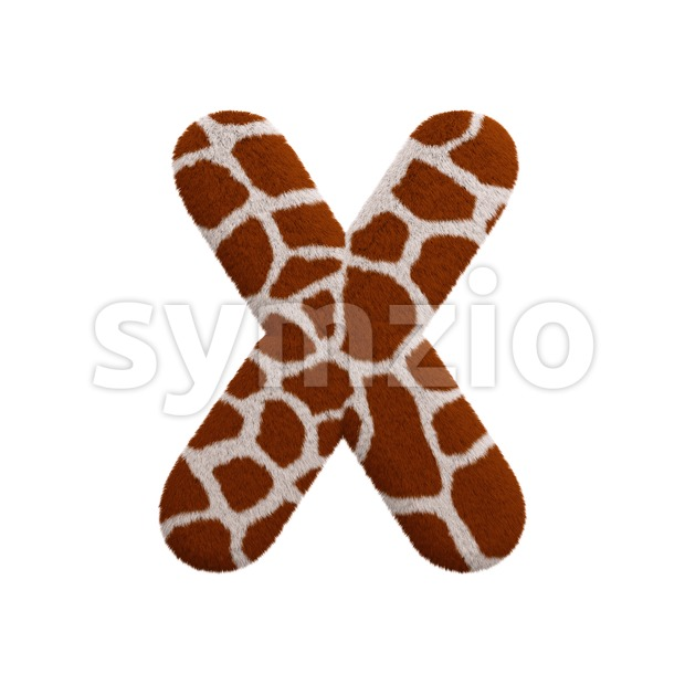 3d Upper-case character X covered in giraffe texture Stock Photo