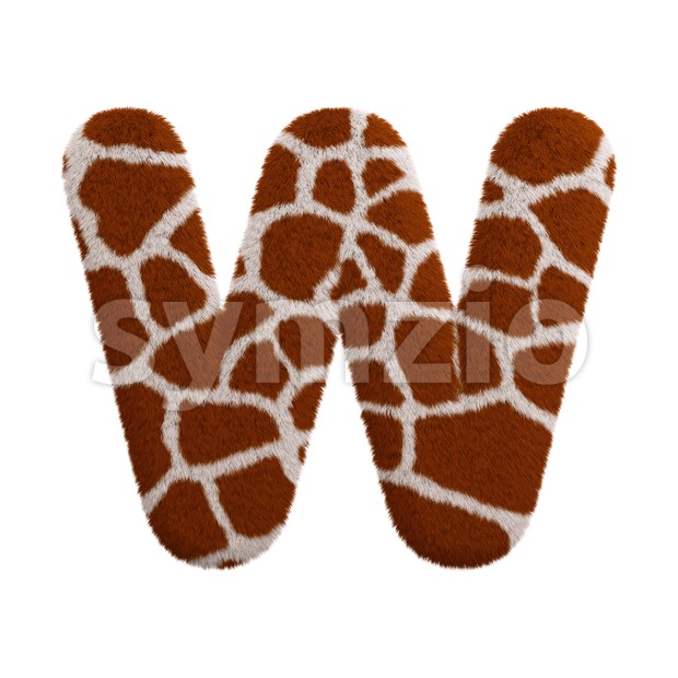 safari font W - Capital 3d letter Stock Photo