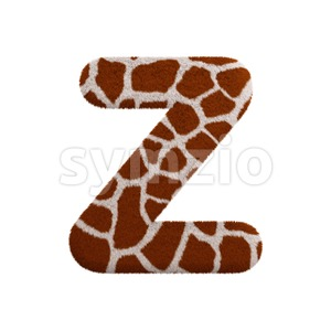 giraffe letter Z - Upper-case 3d font Stock Photo