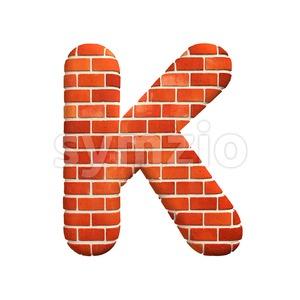 Uppercase Brick wall letter K - Capital 3d font Stock Photo