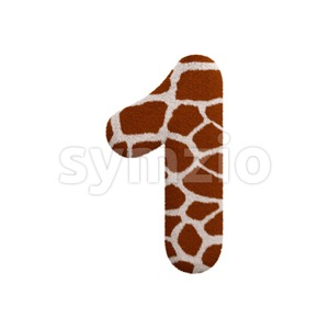 giraffe number 1 - 3d digit Stock Photo